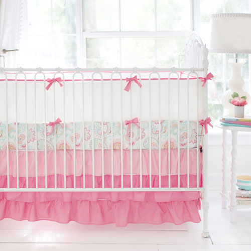 coral and white crib bumper mix and match collection