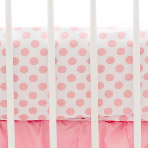 Marion S Coral And Gold Polka Dot Nursery: Coral Polka Dot Crib Sheet