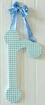 Blue Hanging Gingham Letters with Ribbon