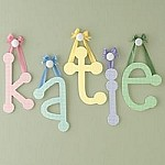 Sage Hanging Gingham Letters with Ribbon