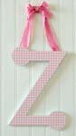 Pink Gingham  Hanging Letters with Ribbon