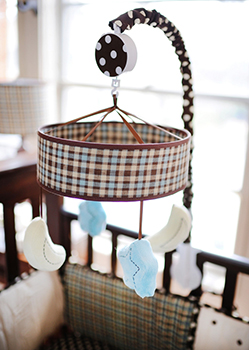 Mad About Plaid In Blue Baby Mobile