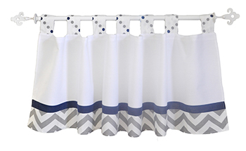 White, Navy and Gray Nursery Curtain Valance | Out of The Blue Crib Collection