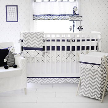 Gray and Navy Crib Bedding | Out of the Blue Baby Bedding Collection