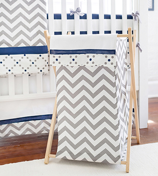 Gray and Navy Chevron Nursery Hamper | Out of the Blue Baby Bedding Collection