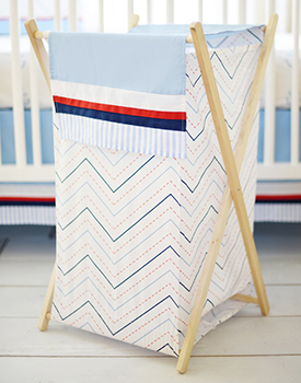 Chevron Nursery Hamper | First Mate Crib Collection