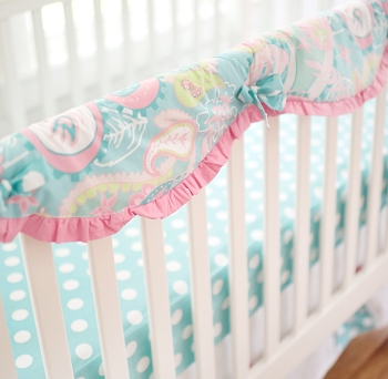 Aqua and Pink Paisley Crib Rail Cover Guard | Pixie Baby in Aqua Crib Collection