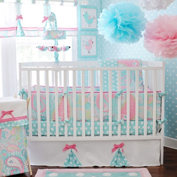 Paisley Baby Bedding | Pixie Baby in Aqua Crib Bedding