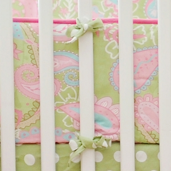 Pink & Green Paisley Crib Bumper | Pixie Baby in Pink Collection