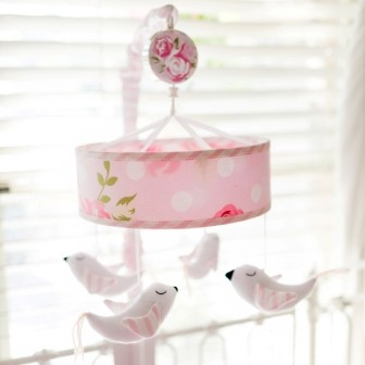 Pink Floral Baby Mobile | Rosebud Lane Crib Collection
