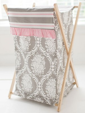 Pink And Gray Damask Nursery Hamper Olivia Rose Crib Collection