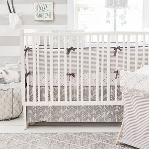 Neutral Grey Arrow Crib Bedding | Little Adventurer Baby Collection