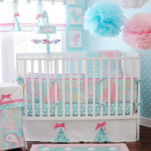Paisley Baby Bedding Pixie In Aqua Collection