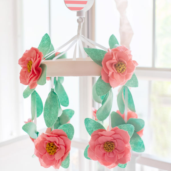 Coral Floral Baby Mobile | Boho Baby Crib Collection