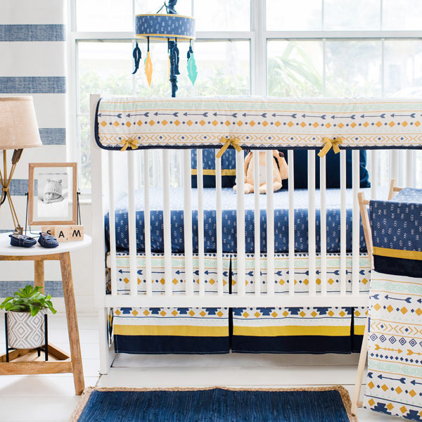 Navy Gold Mint Aztec Crib Bedding