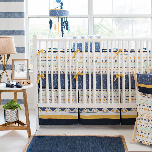 Navy, Gold & Mint Tribal Baby Bedding | Desert Sky Collection