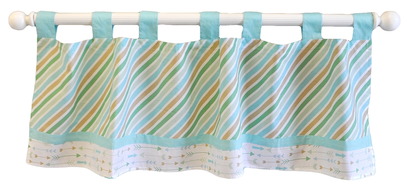Aqua Curtain Valance | Follow Your Arrow in Aqua Crib Collection