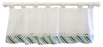 White, Navy & Green Nursery Curtain Valance | Follow Your Arrow in Navy Crib Collection