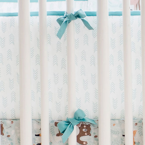 White and Aqua Arrow Crib Bumper Pads | Forest Friends Collection
