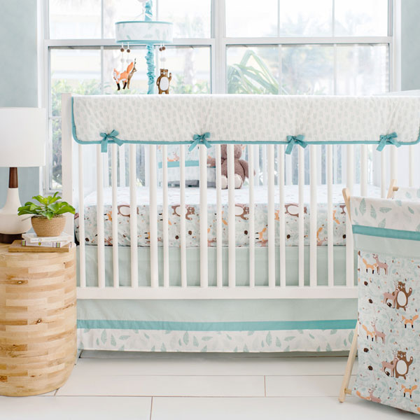 Woodland Crib Bedding | Forest Friends Rail Cover Collection