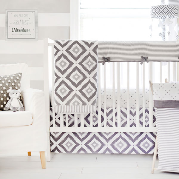 Gray and White Modern Crib Bedding | Imagine Collection