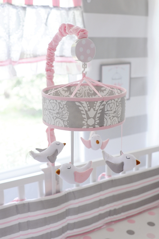 Pink And Gray Baby Mobile Olivia Rose Crib Collection
