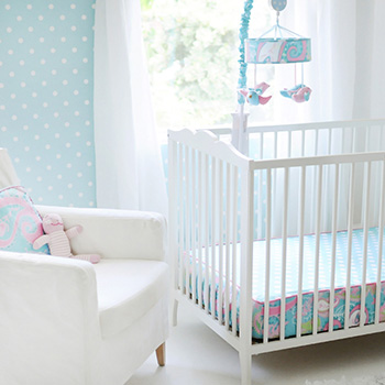 Pixie Baby in Aqua Bumperless Crib Sheet
