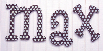 Chocolate Polka Dot Hanging Letters