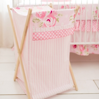 Pink Fl Nursery Hamper Rosebud Lane Crib Collection