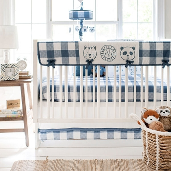 Navy Buffalo Plaid Crib Bedding | 9 Piece Animal Parade Collection