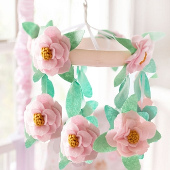 Pink Floral Baby Mobile | Wildflower Crib Collection