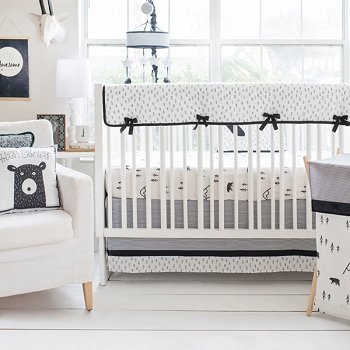Black and White Bear Crib Rail Cover Set | Little Black Bear Collection