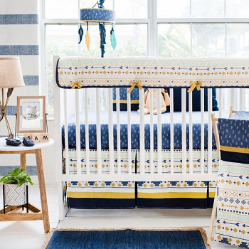 Navy, Gold & Mint Aztec Crib Bedding | Desert Sky Collection