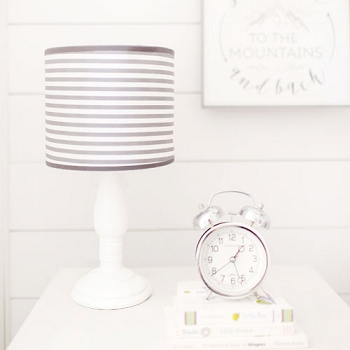 White & Gray Stripe Nursery Lamp | Little Adventurer & Imagine Collections