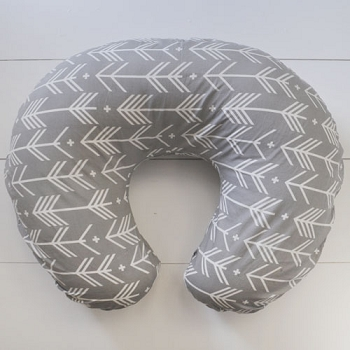 Gray Arrow Nursing Pillow Cover | Little Adventurer Crib Collection