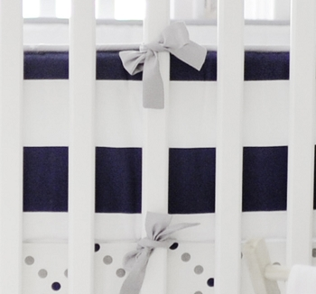 Gray and Navy Stripe Crib Bumper | Out of the Blue Baby Bedding Collection