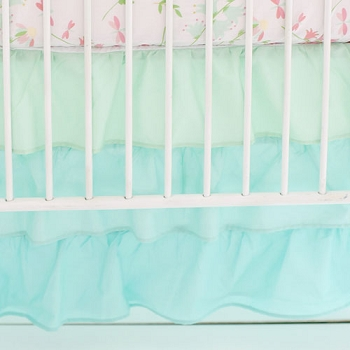 Mint Ruffled Crib Skirt | Mix and Match Collection