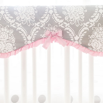Pink & Gray Crib Rail Cover Guard | Olivia Rose Crib Collection