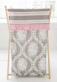 Pink and Gray Damask Nursery Hamper | Olivia Rose Crib Collection