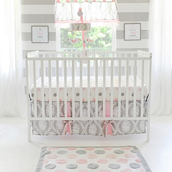 Pink and Gray Baby Girl Crib Bedding | Olivia Rose Crib Collection
