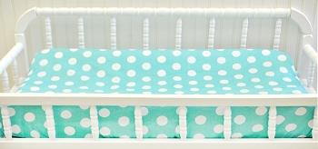 Aqua Polka Dot Changing Pad Cover | Pixie Baby Bedding Collection