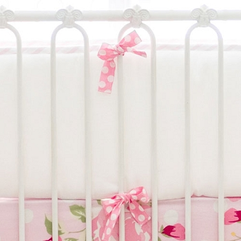 White Crib Bumper with Pink Trim | Rosebud Lane Collection