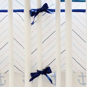Navy and Red Chevron Crib Bumper | First Mate Crib Collection