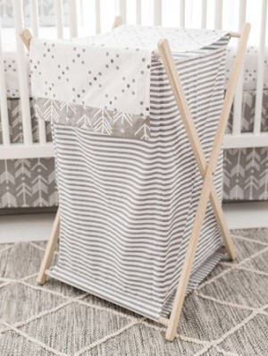 Gray Nursery Hamper | Little Adventurer Crib Collection