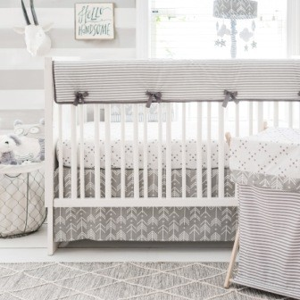 Gray Arrow Crib Bedding | Little Adventurer Crib Rail Cover Collection