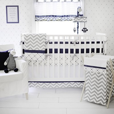 Gray and Navy Crib Bedding | Out of the Blue Baby Nursery Collection