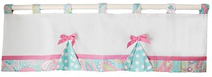 Pink and Aqua Nursery Curtain Valance | Pixie Baby in Aqua Crib Collection